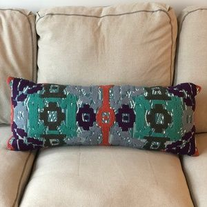 Anthropologie Embroidered Lumbar Pillow